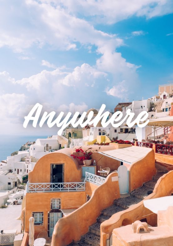 A picture of Santorini with the tag Anywhere